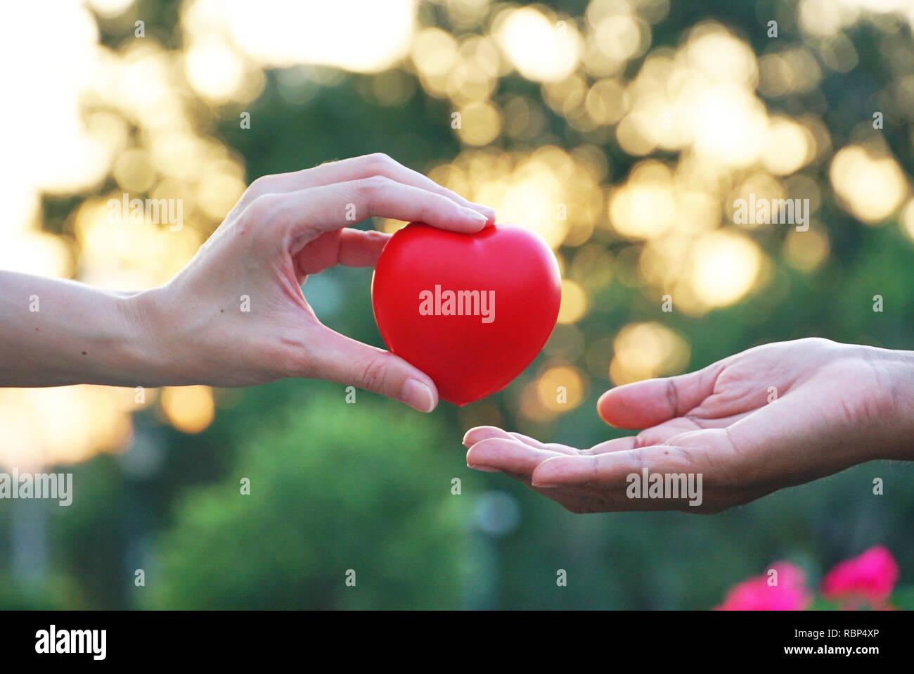 Amigo 's mano dar corazón rojo para alentar perdedor con bokeh de fondo al atardecer Imagen De Stock
