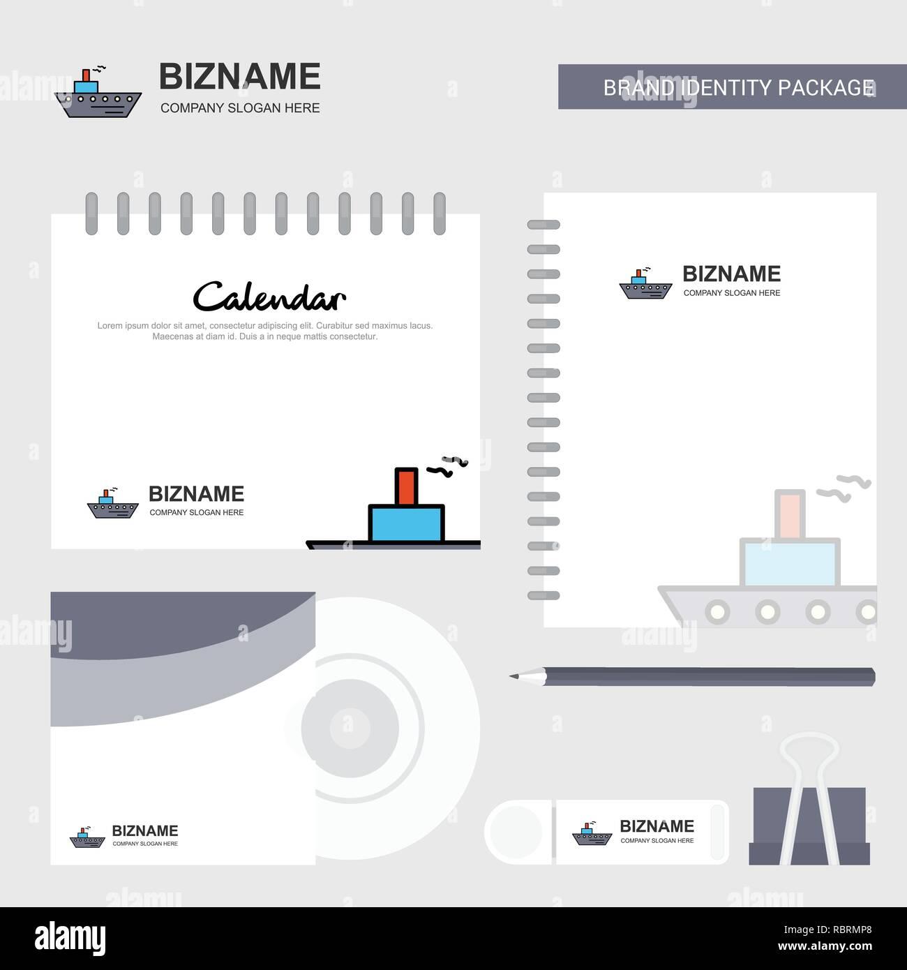 Marca Calendario.Logotipo Barco Plantilla Calendario Diario Y Tapa De Cd Usb