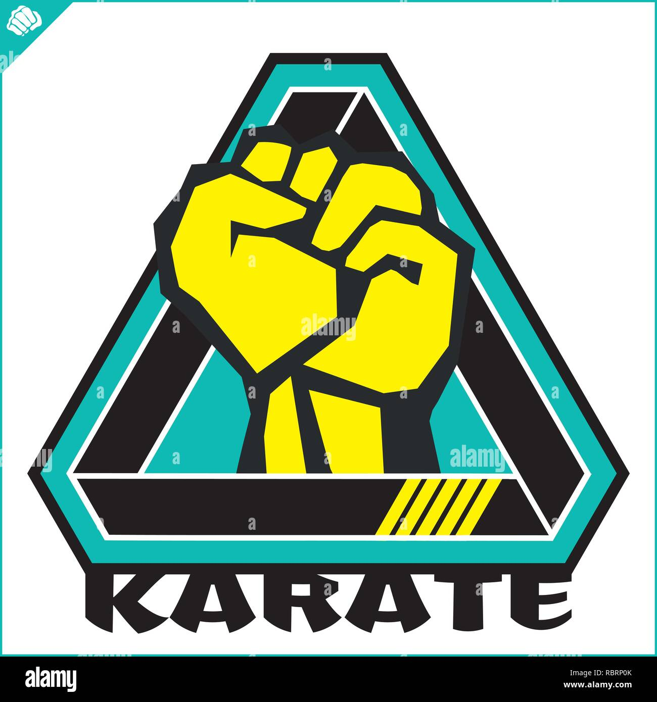 Karate power fist emblema. Arte marcial simbol color de diseño. Vector 7ed8ea2143a