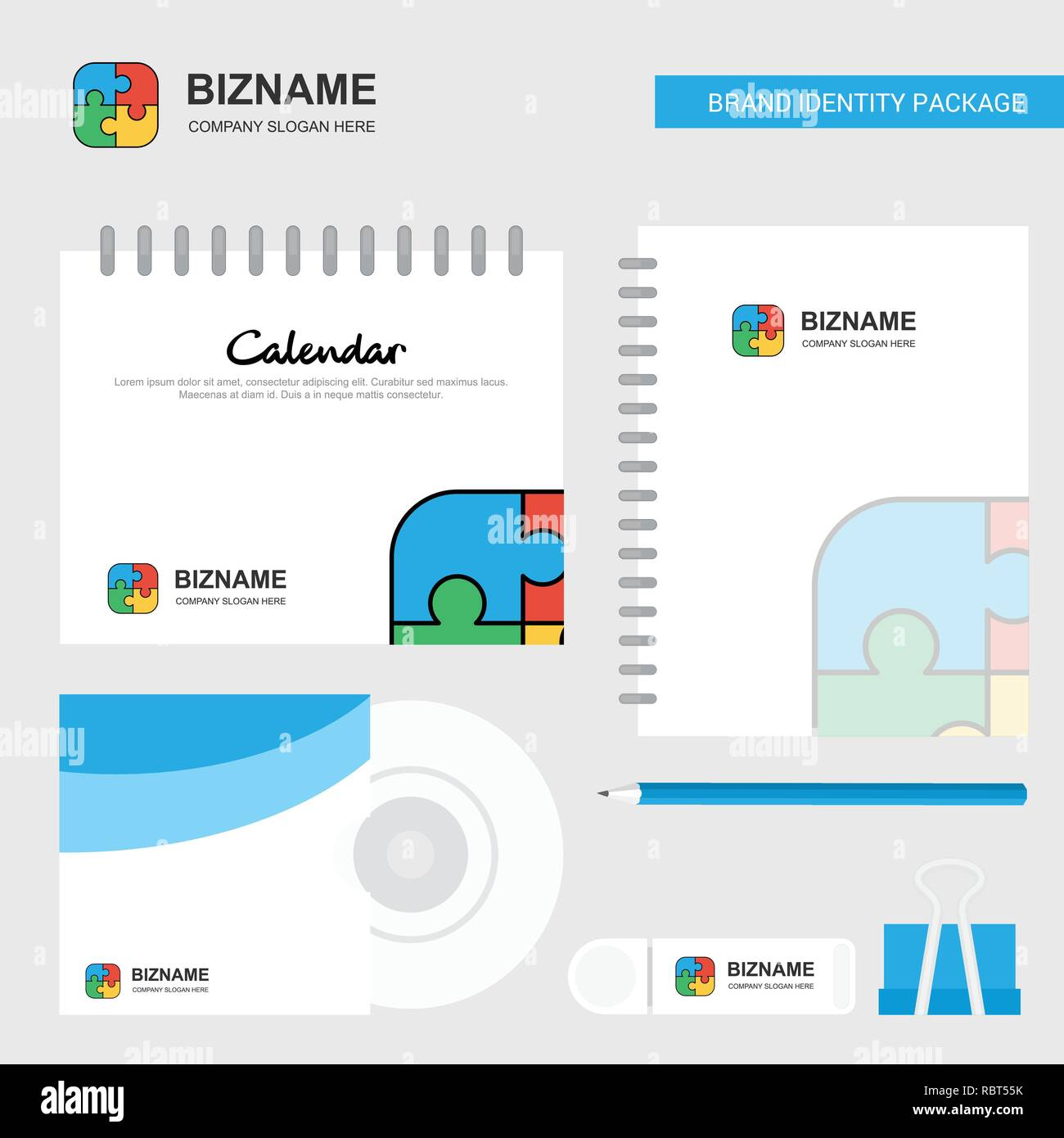 Calendario Diario.Juego De Puzzle Logo Plantilla Calendario Diario Y Tapa