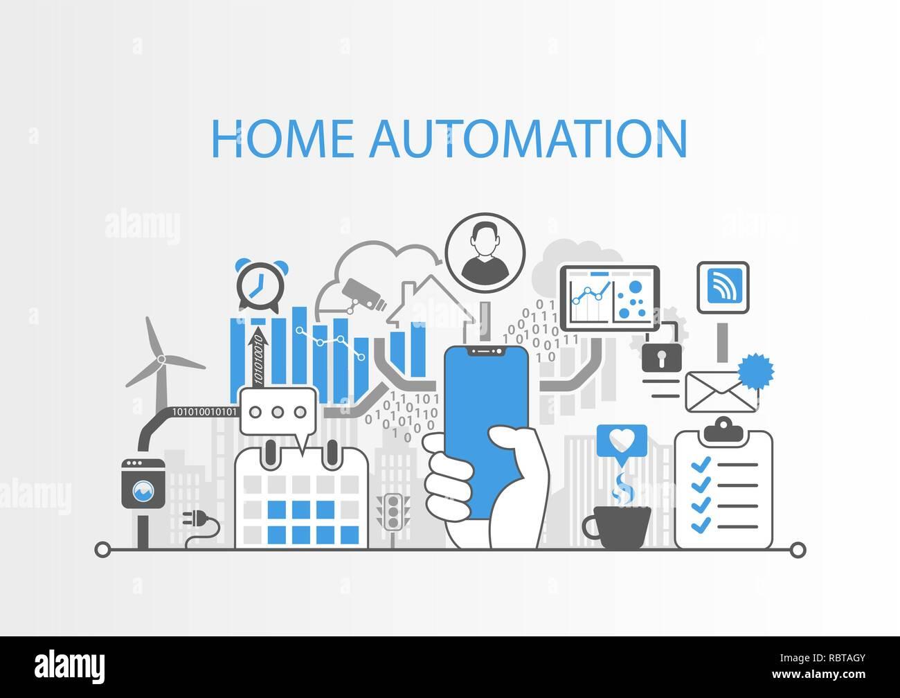 Concepto de automatización del hogar con mano sujetando el bisel moderno gratuito smart phone Ilustración del Vector