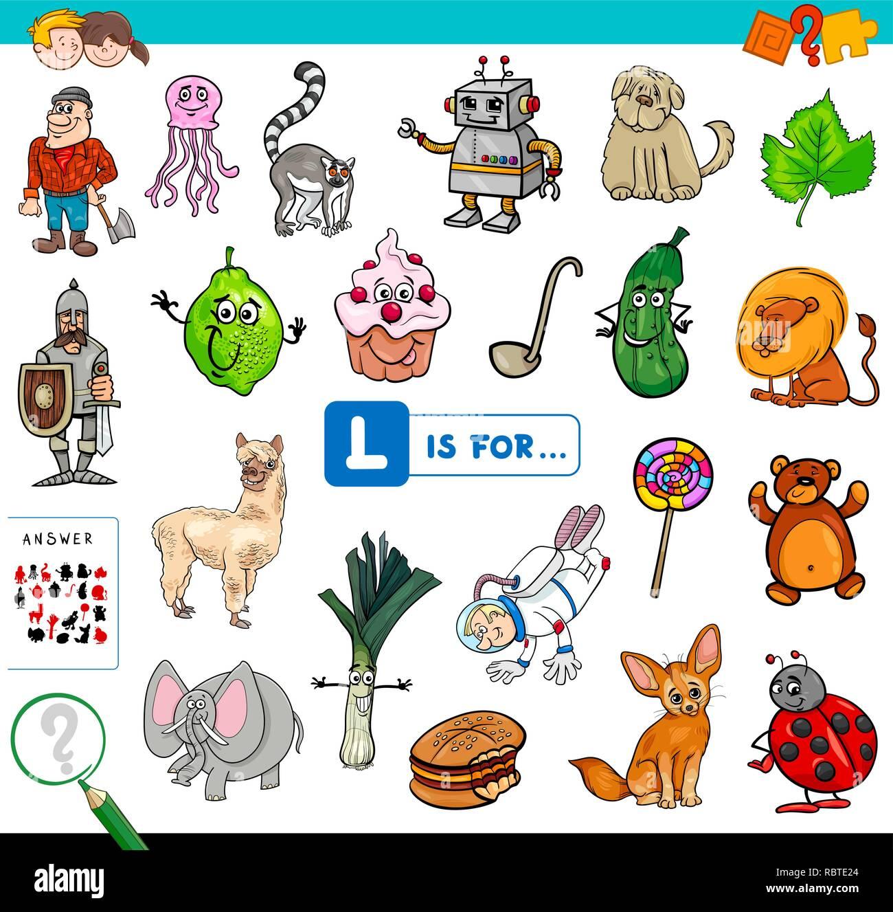 Ilustración De Dibujos Animados De Encontrar La Imagen Que Empiezan