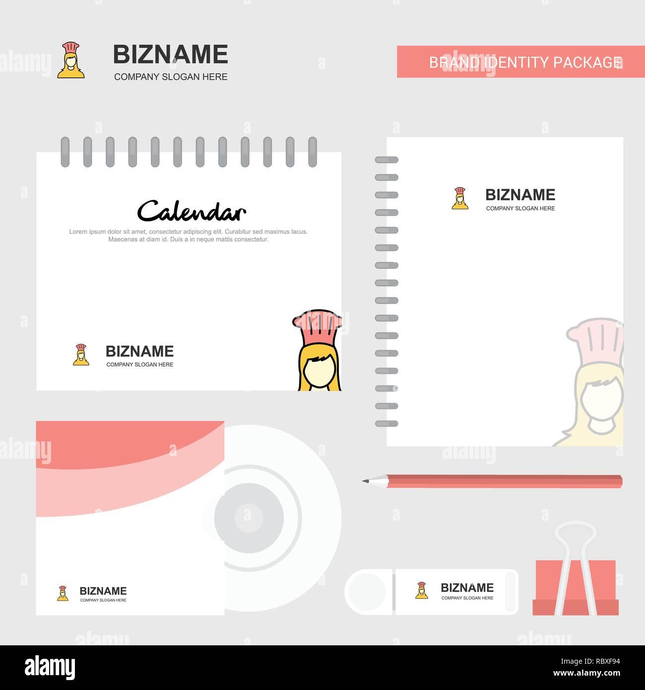 Marca Calendario.Chef Logo Plantilla Calendario Diario Y Tapa De Cd Usb