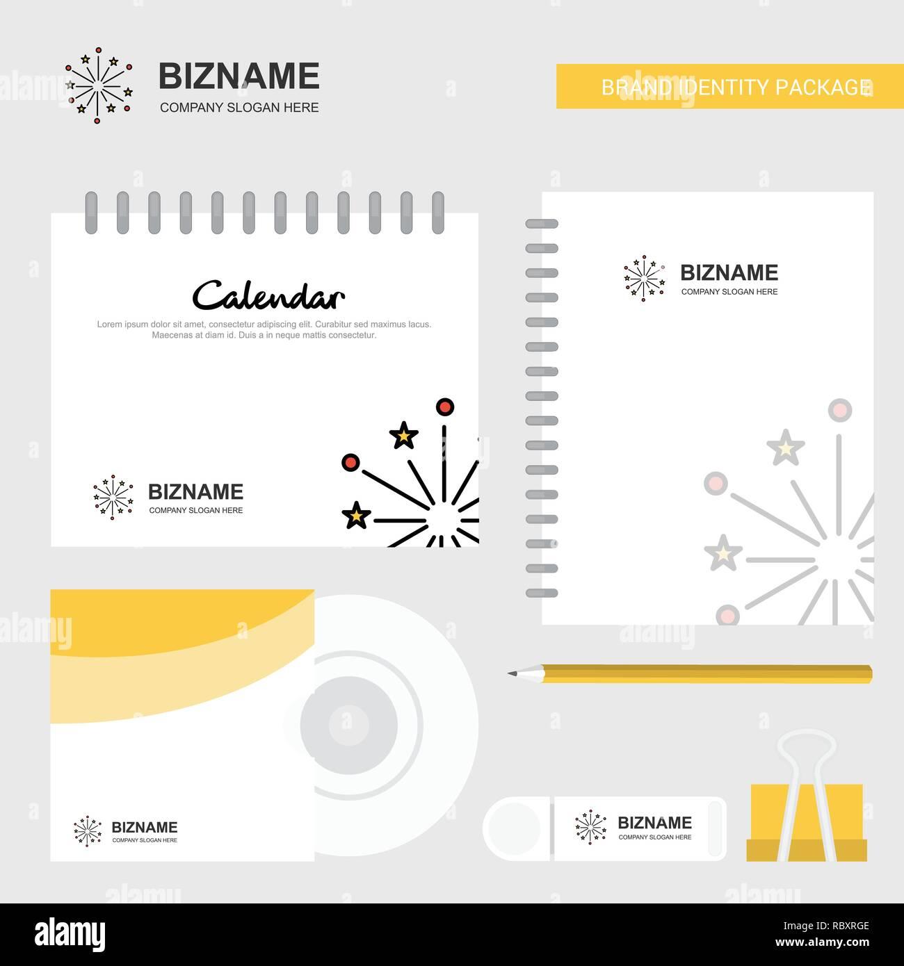 Marca Calendario.Blast Logotipo Plantilla Calendario Diario Y Tapa De Cd Usb