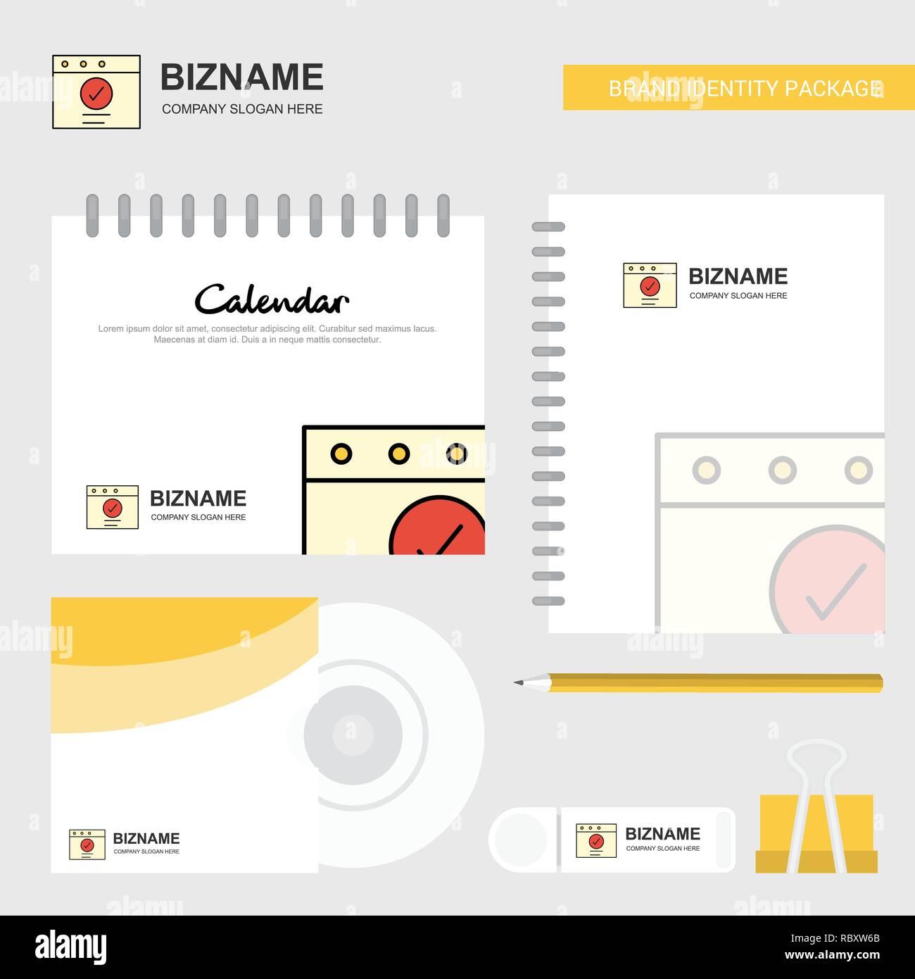 Marca Calendario.Logotipo Ok Plantilla Calendario Diario Y Tapa De Cd Usb