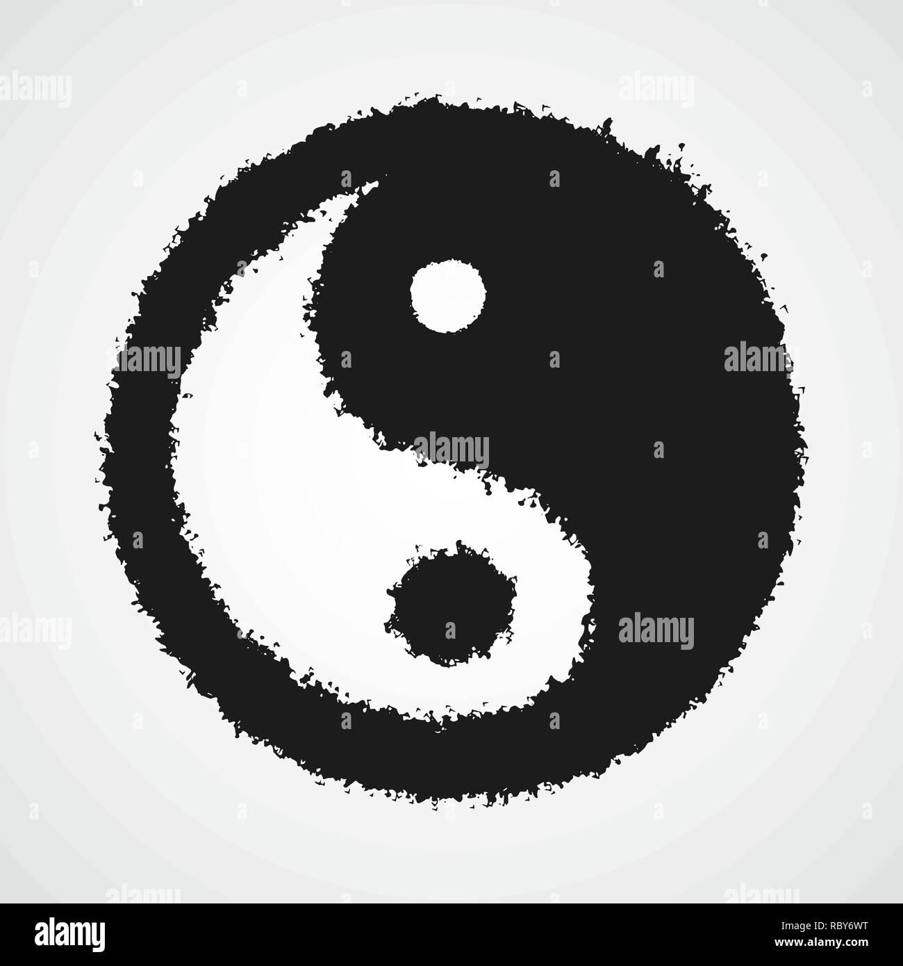 Dibujo Negro Del Símbolo Yin Yang En El Doodle Estilo Ilustración