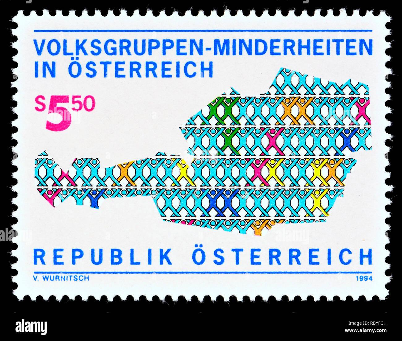 Sello austriaco (1994): las minorías, los grupos minoritarios en Austria Imagen De Stock