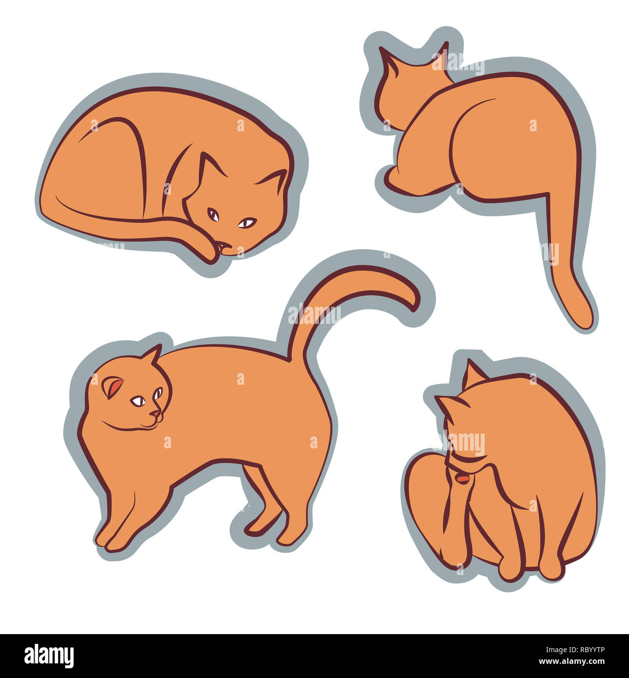 Orange cat diferentes poses clipart Imagen De Stock