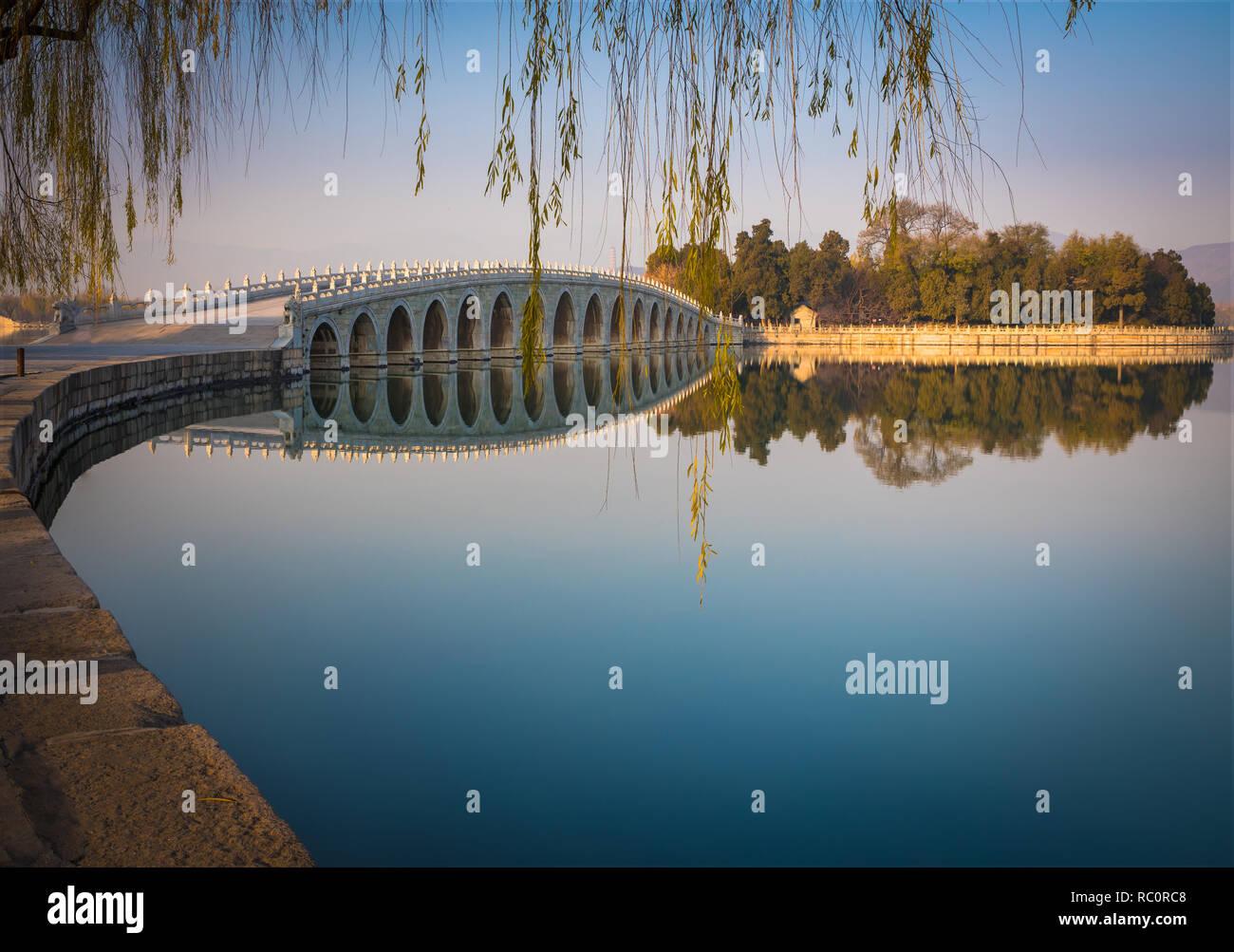 El Palacio de Verano (en chino: 頤和園) es un vasto conjunto de lagos, jardines y palacios en Beijing. Foto de stock