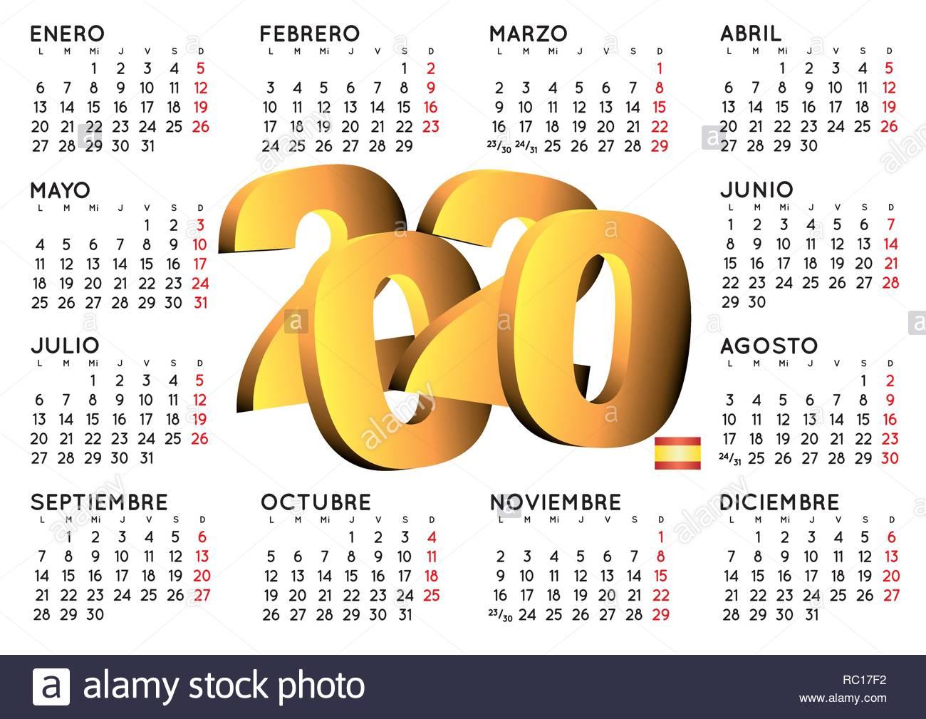 Calendario Del Ano 2020 En Espanol.2020 Elegante Calendario En Espanol Ano 2020 Calendario