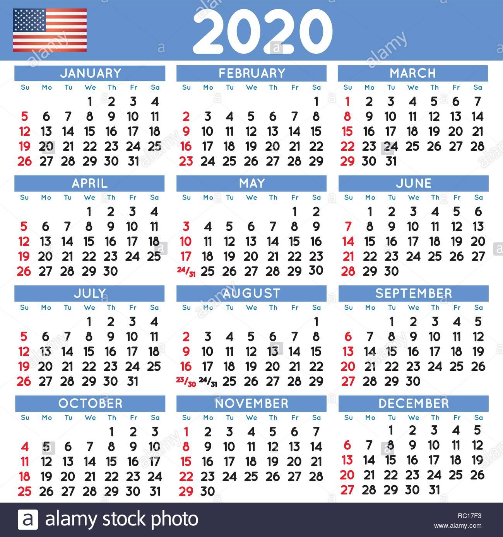 Calendario 2020 Semanas.2020 Calendario Cuadrado Elegante Ingles De Estados Unidos