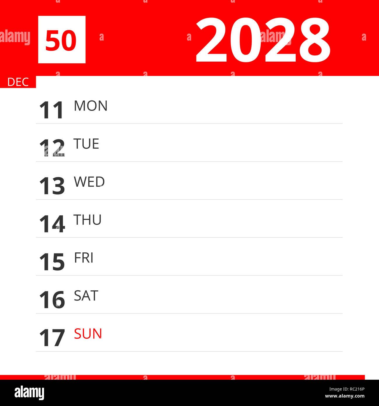 Calendario 216.Planificador De Calendario Para La Semana 50 De 2028
