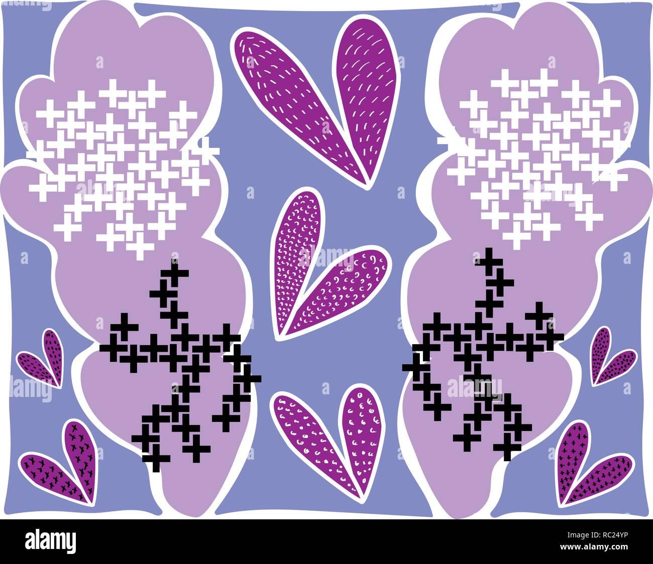 Grandes hojas de lila flores abstractas en patrones de blanco y negro Imagen De Stock