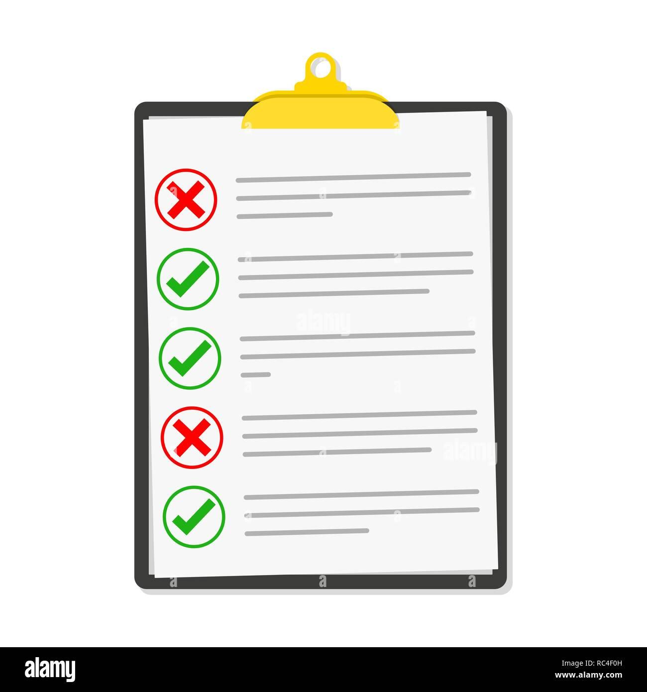 a348ae724 Lista de comprobación aislada. Ilustración vectorial. Checklist  portapapeles en diseño plano