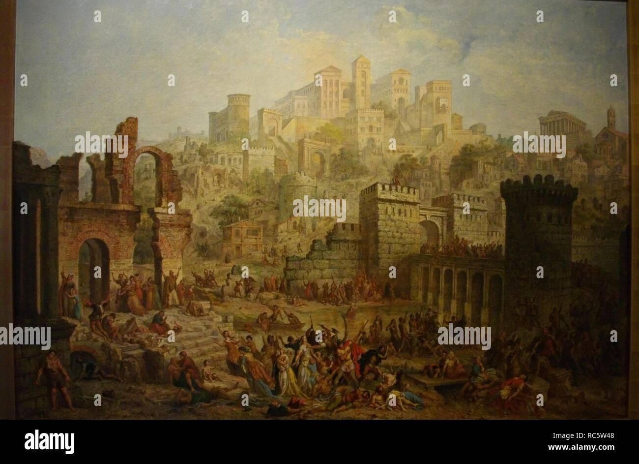La matanza de judíos en Metz durante la primera cruzada. Museo: Musée d'Art et d'Histoire, Metz. Autor: Migette, Auguste. Foto de stock