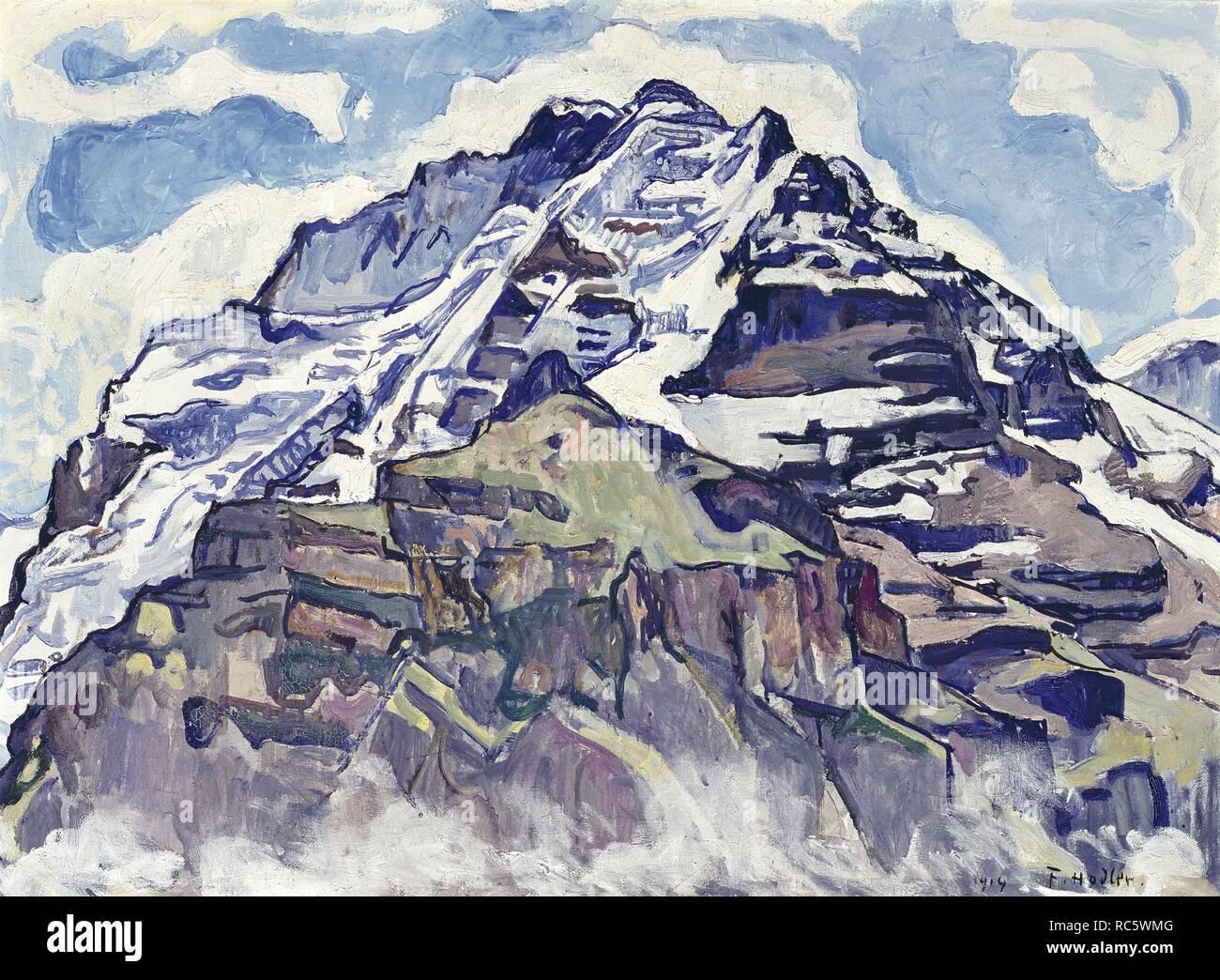 El Jungfrau, visto desde Muerren. Museo: Musée d'art et d'histoire, Genf. Autor: Ferdinand Hodler. Foto de stock