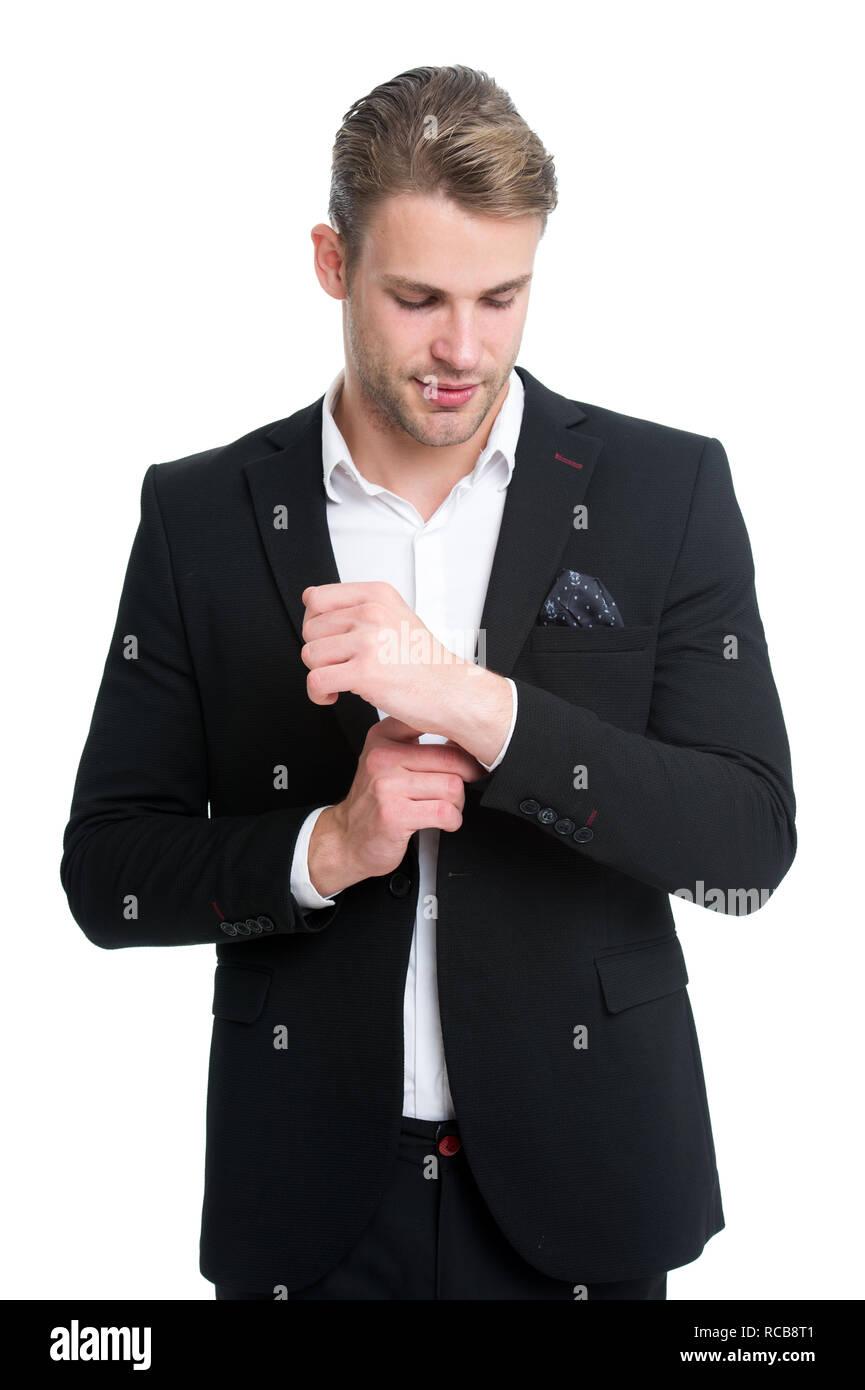 El hombre bien arreglado el desgaste elegante traje formal. Macho seguro  preparar conjunto perfecto. Trabajador de oficina chico guapo apariencia  perfecta. ad7abdf729f2