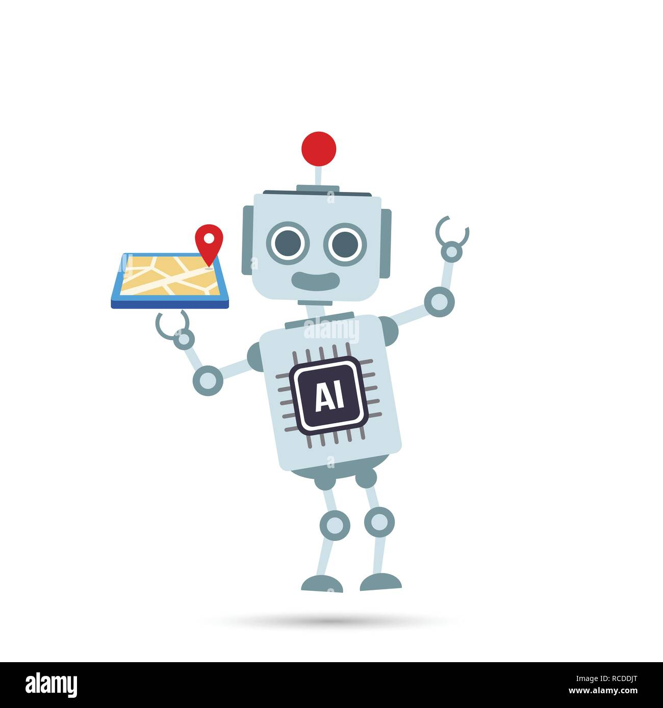 AI Inteligencia artificial tecnología robot está sosteniendo un mapa gps elemento ilustración vectorial EPS10 Ilustración del Vector