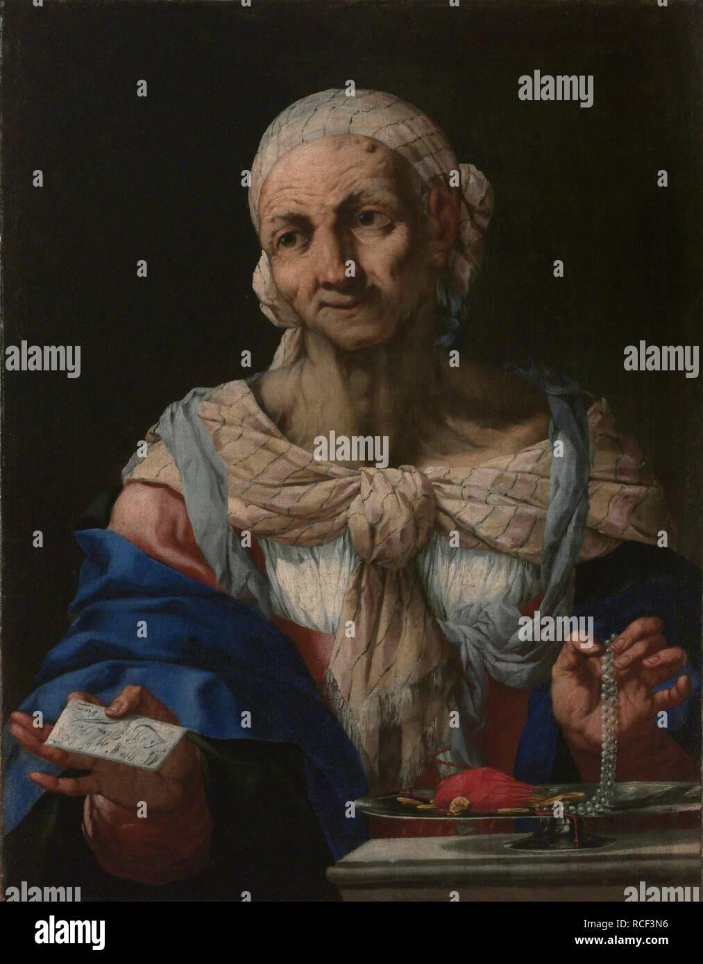 ae1f0cfbb271 Anciana con un collar de perlas y la letra (Vanitas). Museo  La Galería  Nacional de Praga. Autor  Langetti