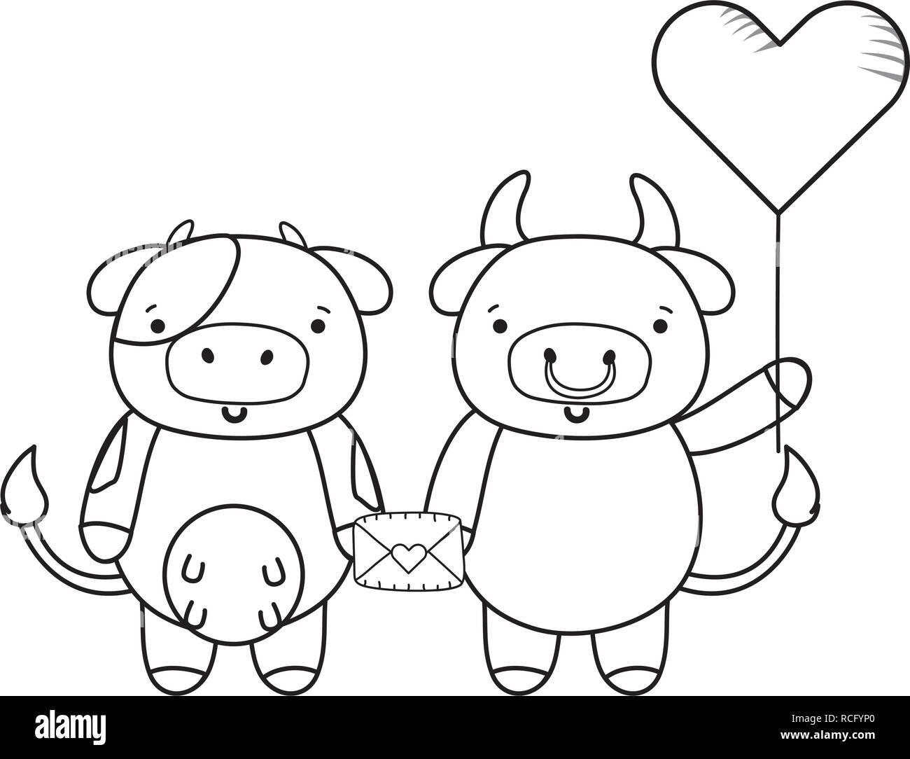 Amor Y Animales Dibujos Animados Ilustración Del Vector Imagen