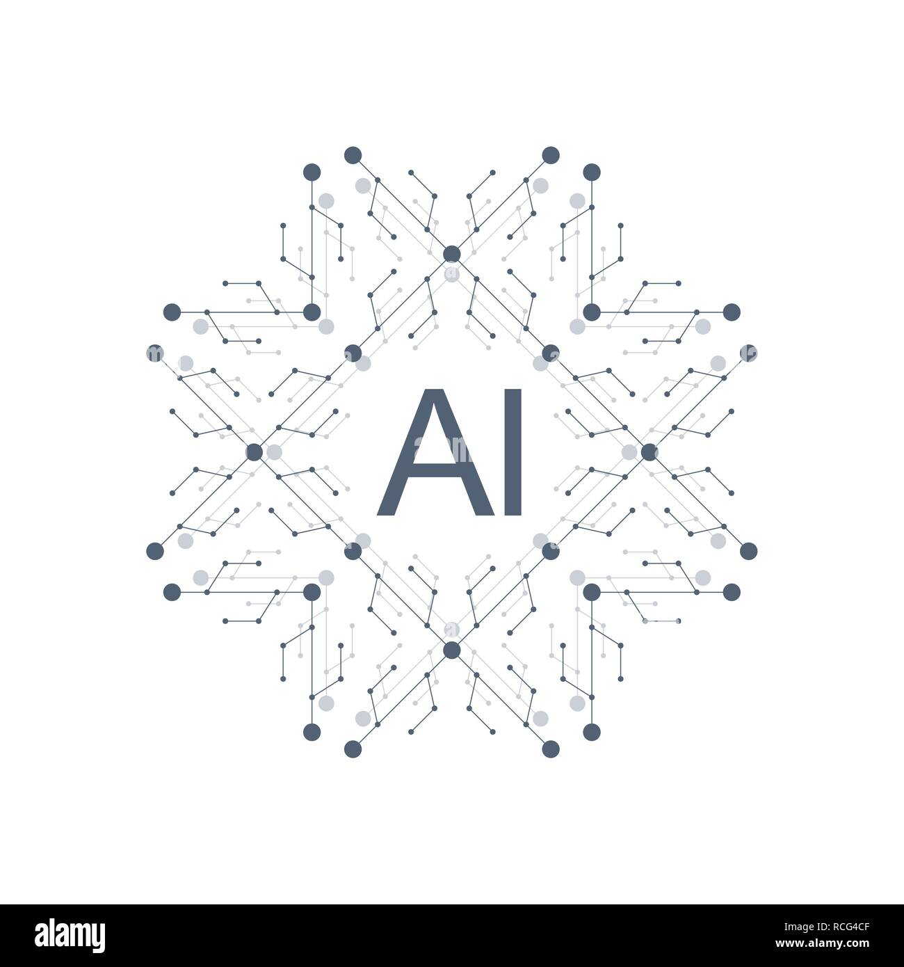 Inteligencia Artificial Logo Vector icono símbolo de AI. Aprendizaje en profundidad y la tecnología del futuro concepto de diseño. Ilustración del Vector