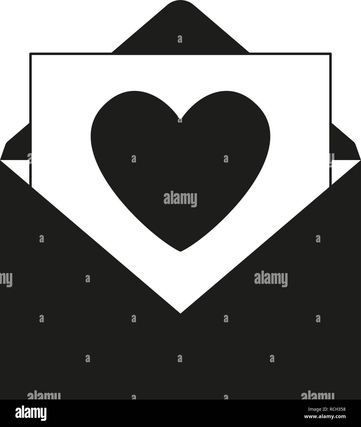Blanco Y Negro Amor Mensaje Abierto Ilustración Del Vector Imagen