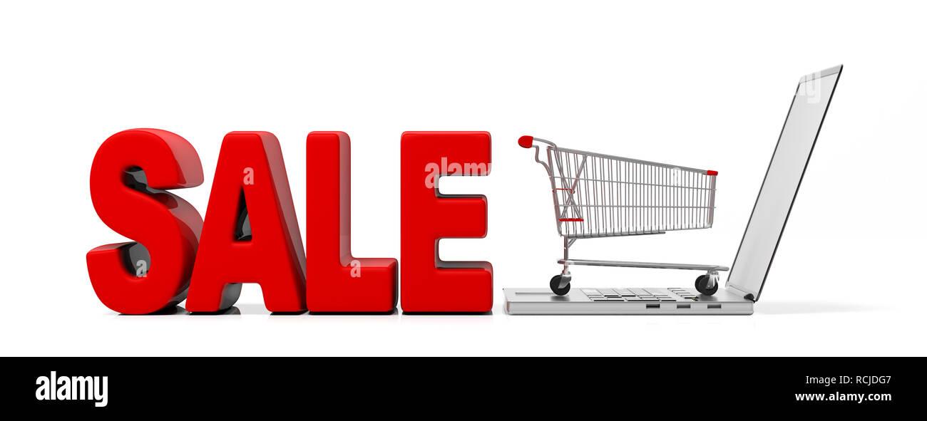 3fc9c1b5a Venta de compras en línea. Venta de texto, grandes letras rojas y carrito de