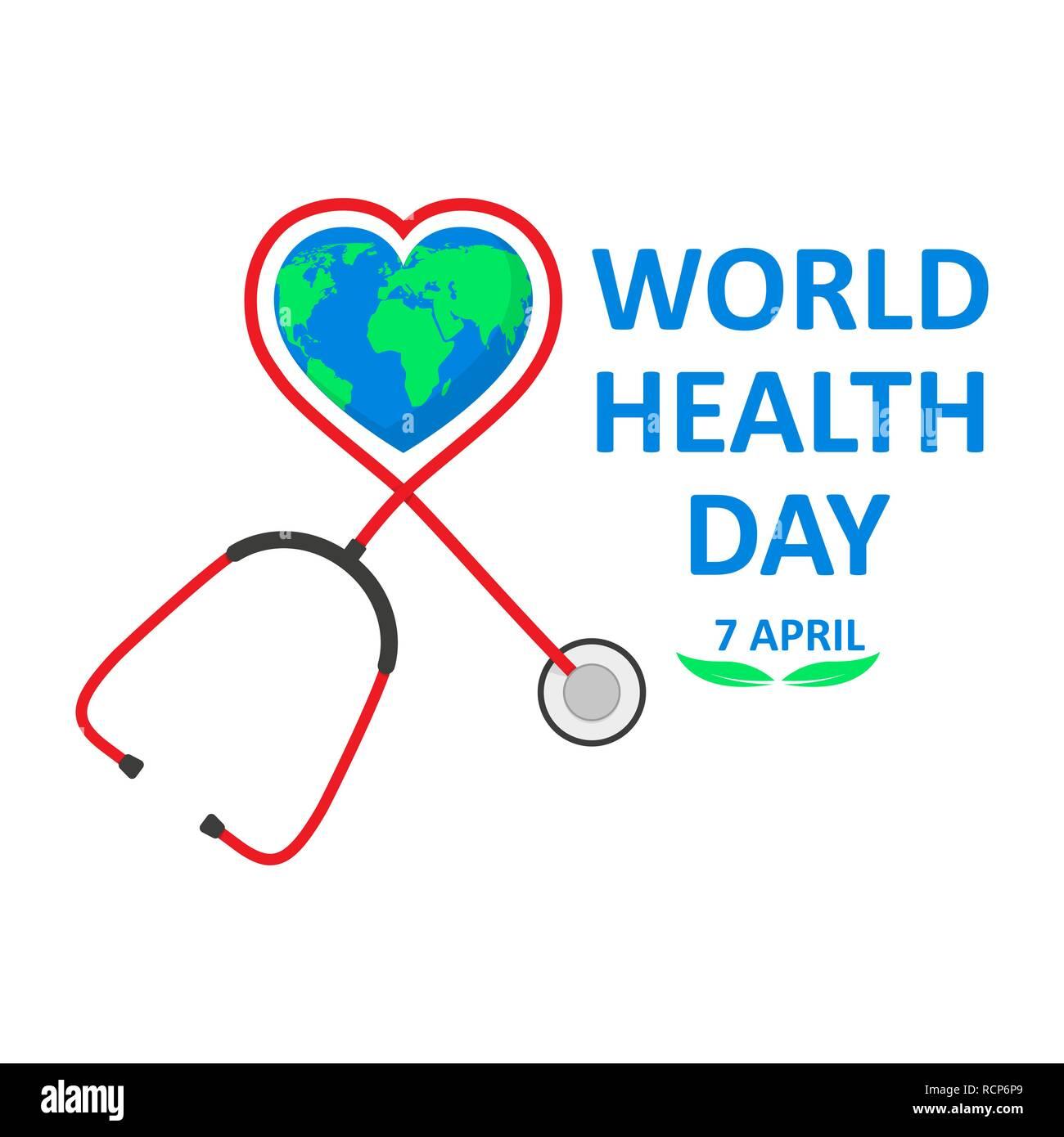 Día Mundial de la salud póster con el estetoscopio en un diseño plano. Ilustración vectorial. Mundo firmen y estetoscopio, ecología, concepto Imagen De Stock