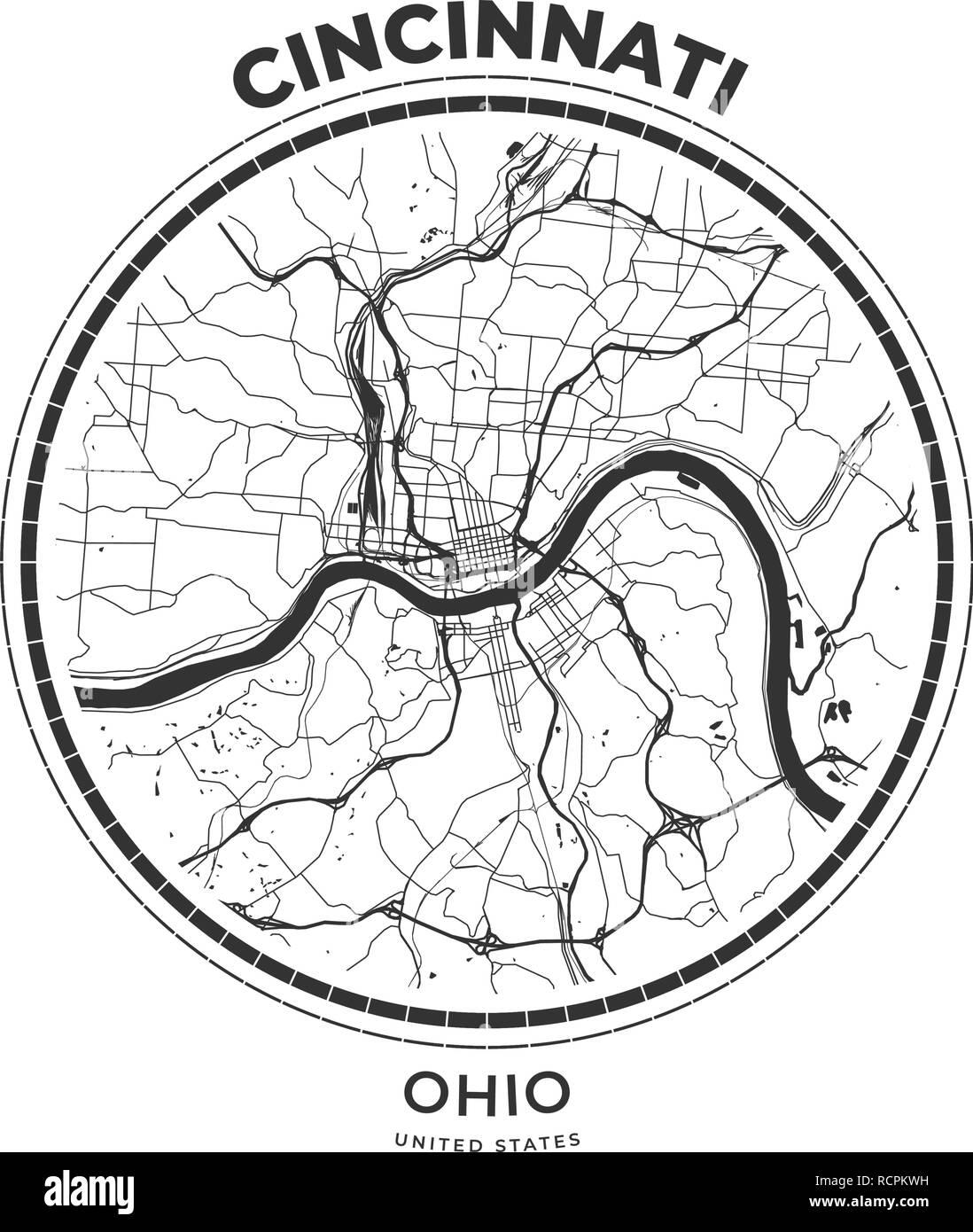 T Shirt Mapa Insignia De Cincinnati Ohio Tee Shirt Tipografia