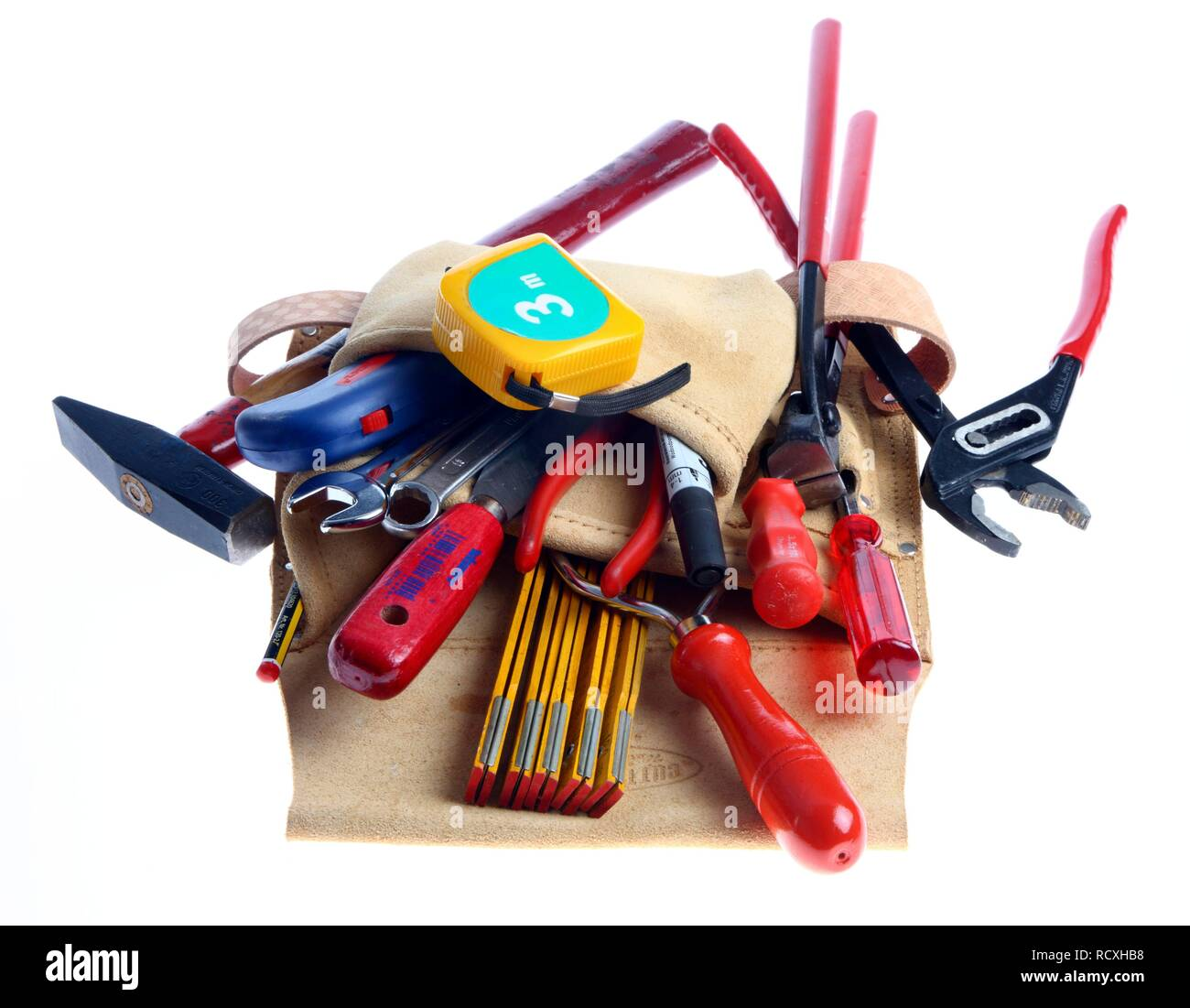 Cuero cinturón de herramientas con diferentes herramientas Imagen De Stock ca4dc35891bd