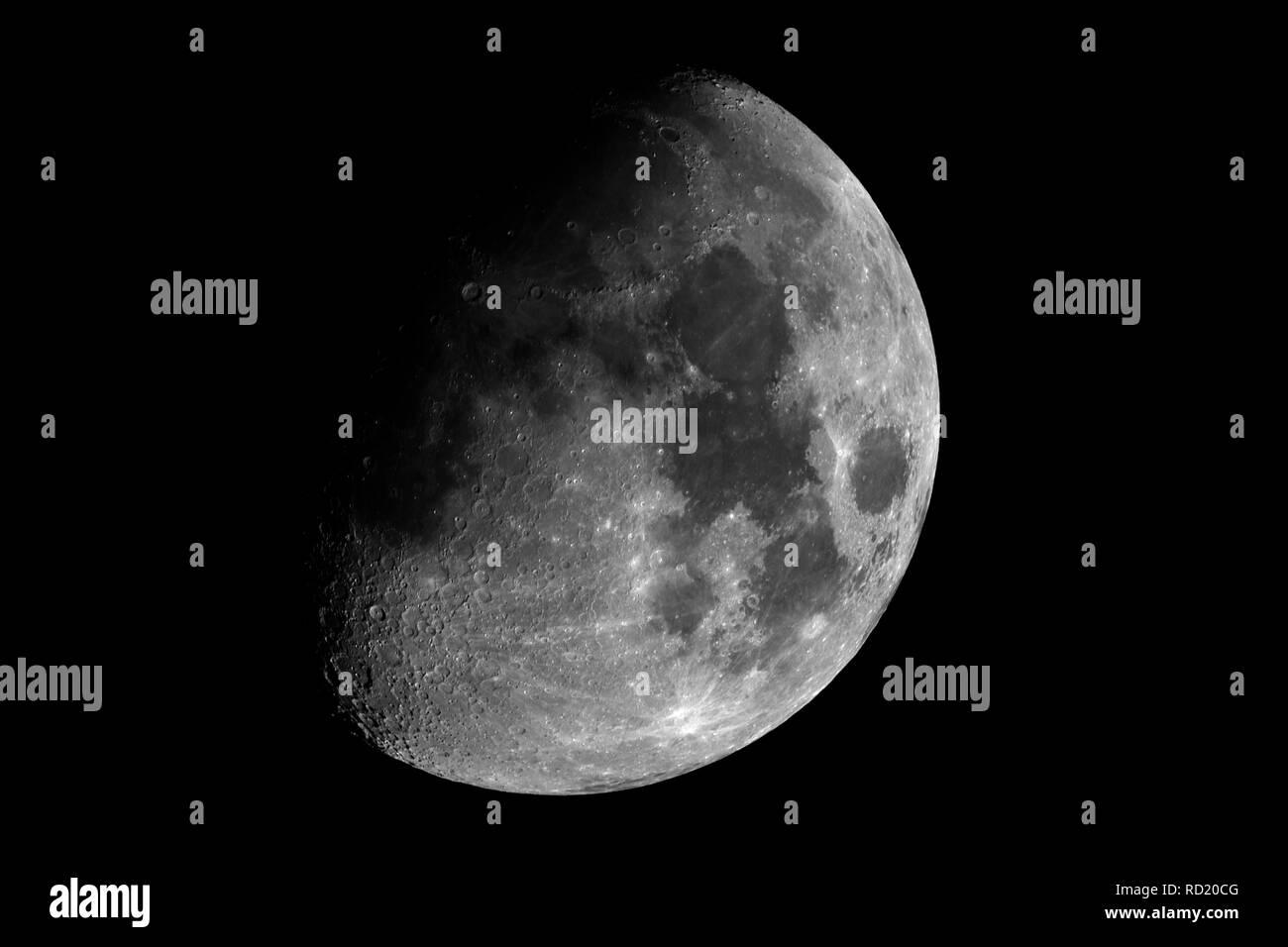 Gran Luna en cuarto menguante con cera, tomadas con el telescopio ...