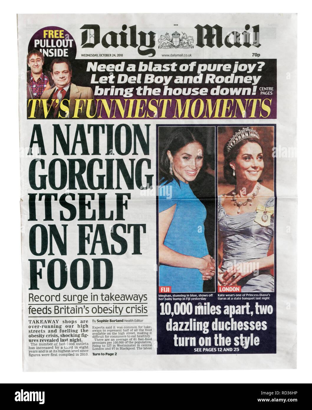La portada del Daily Mail del 24 de octubre de 2018 con el título de una nación propia atiborrando de comida rápida, comida rápida acerca de los vínculos de la obesidad Imagen De Stock