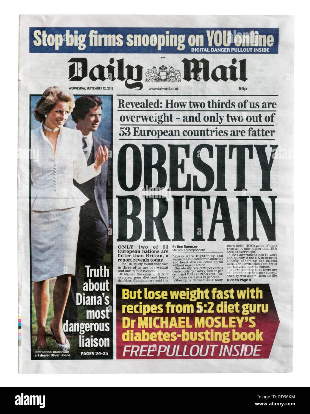 La portada del Daily Mail del 12 de septiembre de 2018 con el título la obesidad de Gran Bretaña, acerca de la alta tasa de obesidad en el REINO UNIDO Imagen De Stock