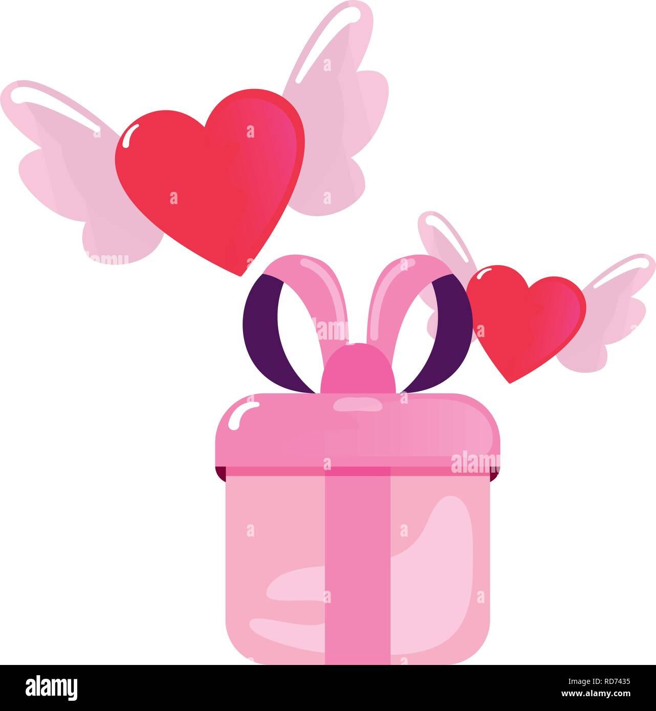 Don Corazones Alas Feliz Día De San Valentín Ilustración Vectorial