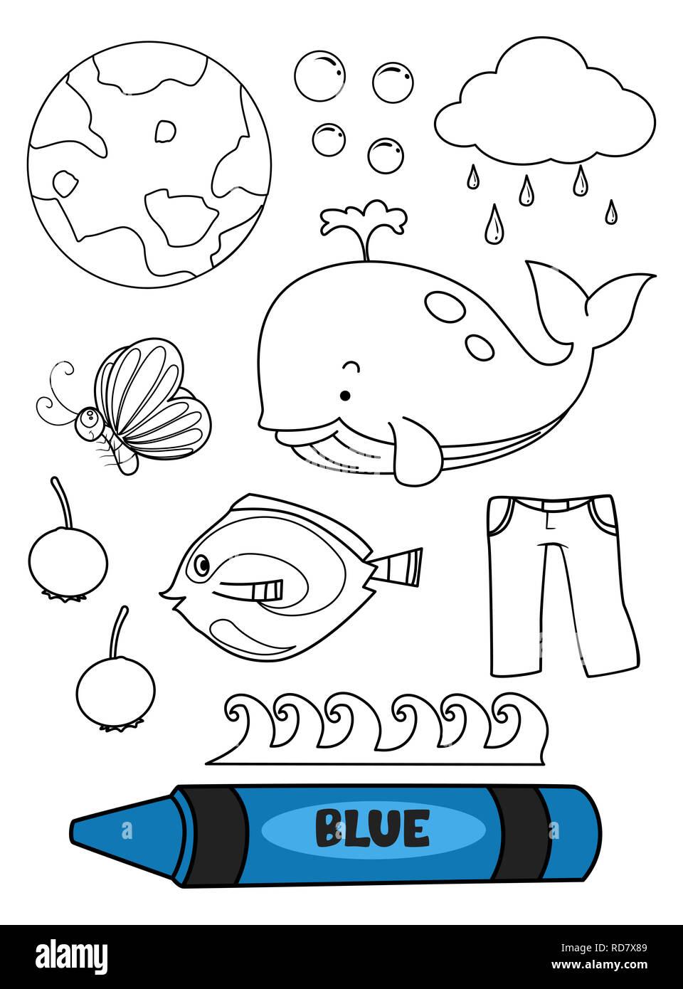 Ilustración De Un Lápiz Azul Con Azul Elementos En Una
