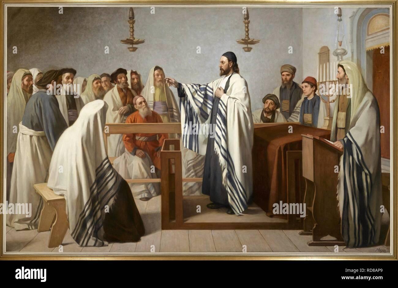 Sermón en un oratorio israelita (Sermón dans onu oratoire israélite). Museo: Musée d'art et d'histoire du judaïsme, París. Autor: MOYSE Edouard. Foto de stock