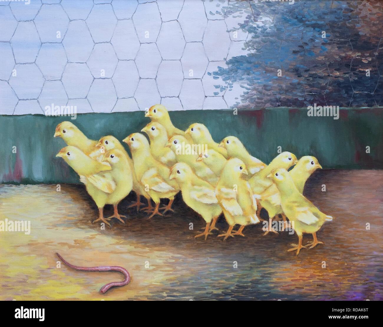 Pintura al óleo pintado a mano de pequeños pollitos amarillos en un gallinero que tienen miedo de una lombriz de tierra. Imagen De Stock