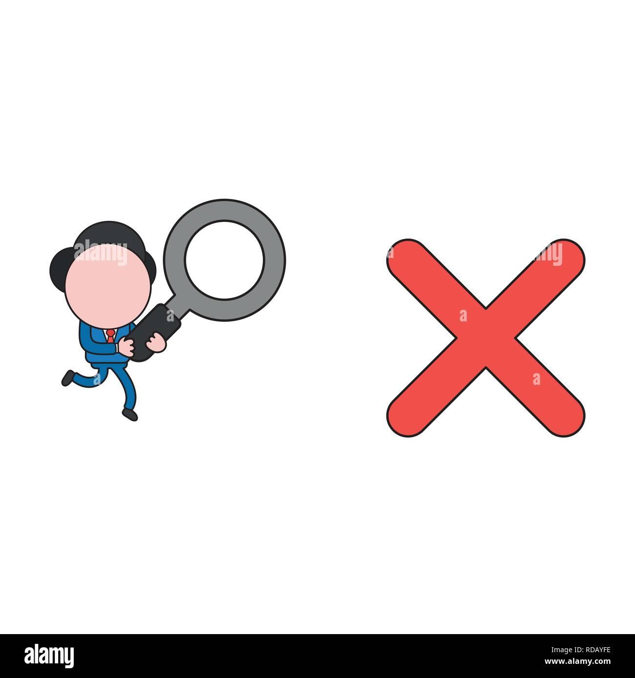 b24ef63e6b571 Ilustración vectorial empresario personaje corriendo y llevando la lupa a x  marca. Color y contornos negros.