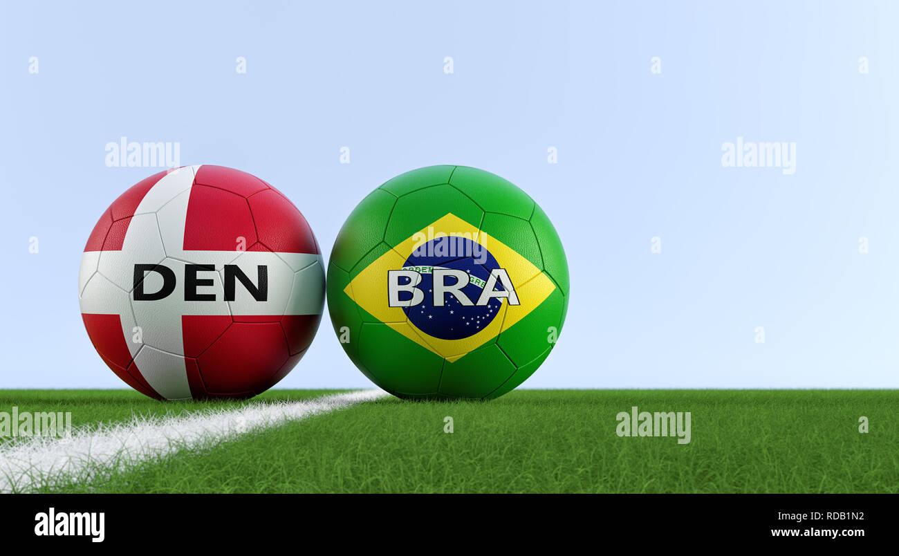 Dinamarca partido de fútbol - pelotas de fútbol en Brasil y Dinamarca  colores 3f5b347bd45ee