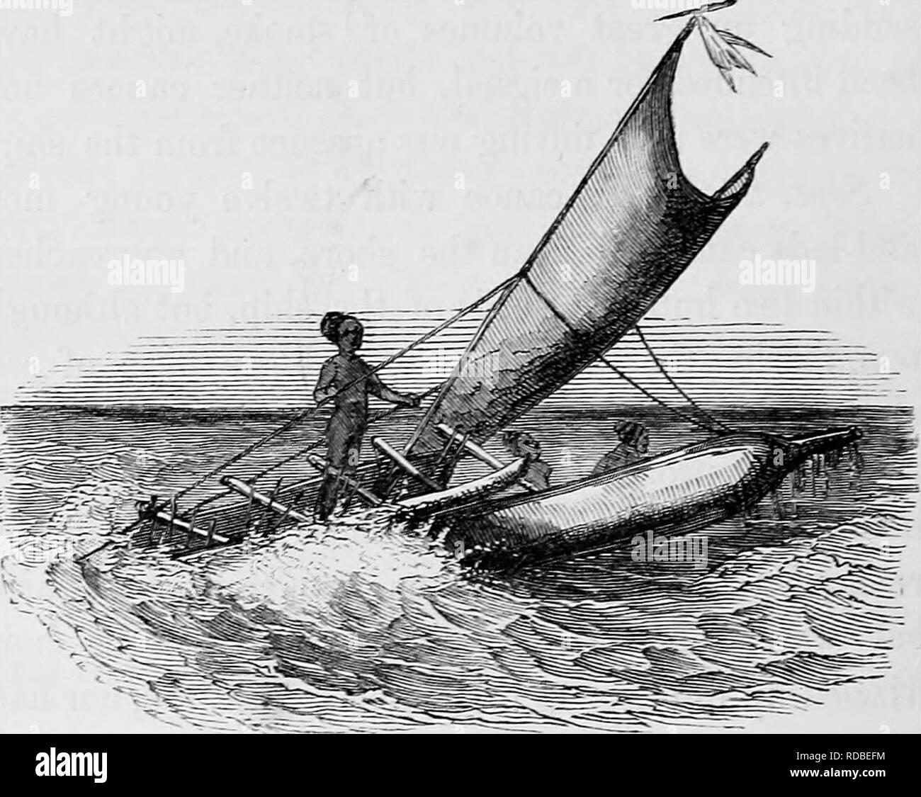 . Descripción del viaje del H.M.S. Cascabel, comandada por el difunto Capitán Owen Stanley durante los años 1846-50 : a la que se añade el Sr. E.B. Kennedy la expedición para la exploración de la península de Cape York . Kennedy, Edmund Besley Corte, 1818-1848; Stanley, Owen; Cascabel (SHIP); historia natural. 294 nativos SE SALEN. He visto antes en una canoa tantos rostros guapos. Como una tela de nalgas llevaban una estrecha franja de tela blanca que pasa entre las piernas y sujeta a una cadena alrededor de la cintura^ pero era demasiado estrecho para servir como una hoja de parra. Entre sus ornamentos vimos collares de sm Foto de stock