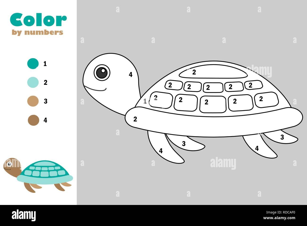 Tortuga En Estilo De Dibujos Animados Color Por Número Papel Del