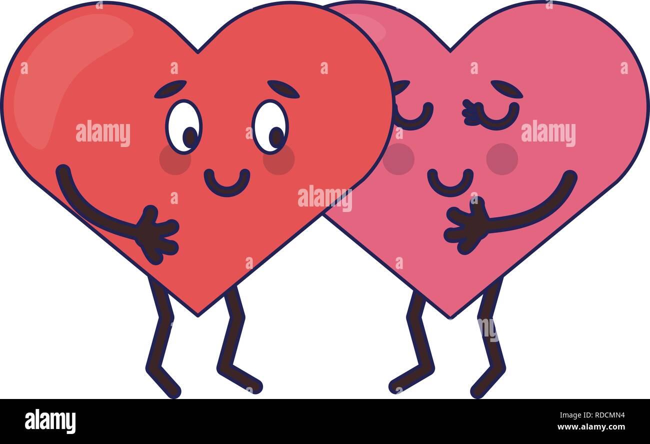 Bonitos Corazones En El Amor Dibujos Animados Ilustración Del Vector