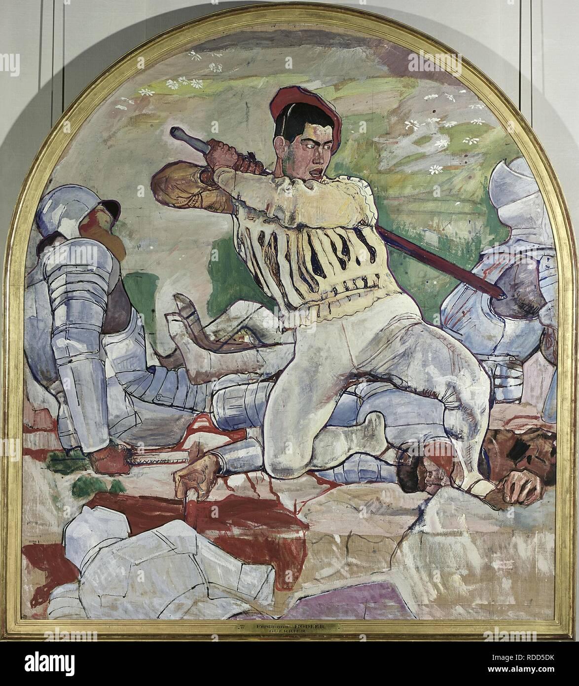 Dietegen cubriendo el Retiro (el retiro de Marignano). Museo: Musée d'art et d'histoire, Genf. Autor: Ferdinand Hodler. Foto de stock