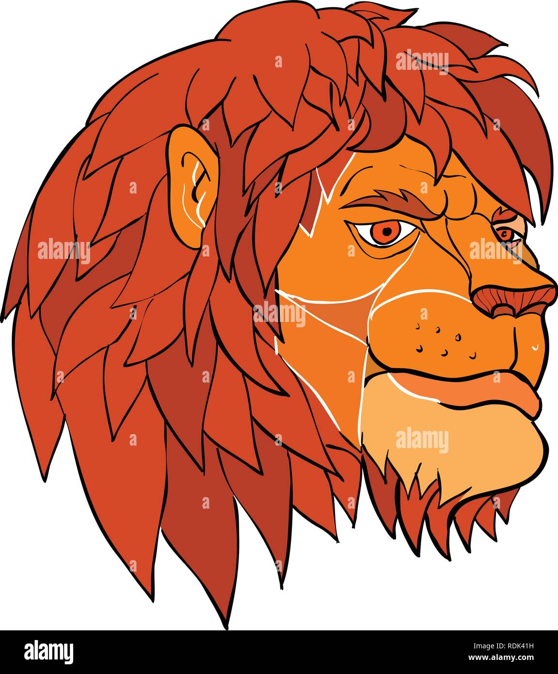 Ilustración Del Estilo De Dibujos Animados De Una Cabeza De Un León