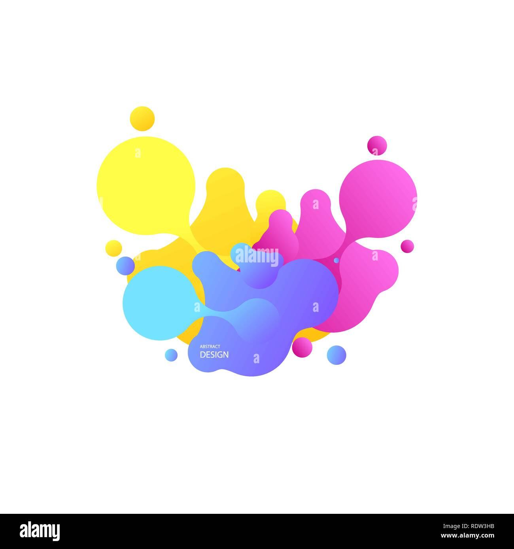Las formas geométricas abstractas. Banners de gradiente líquido aislado en blanco. Antecedentes vectoriales de líquido. Geométrica gradiente banners con líquido que fluye de las formas. El diseño fluido dinámico para logo, flyers o presentstion. Resumen antecedentes vectoriales Imagen De Stock