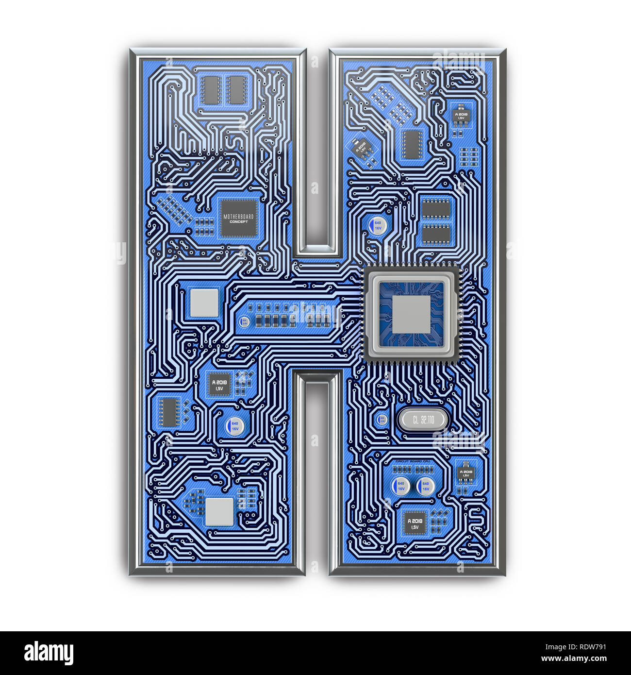 Circuito H : Letra h alfabeto en placa de circuito de estilo carta hi tech