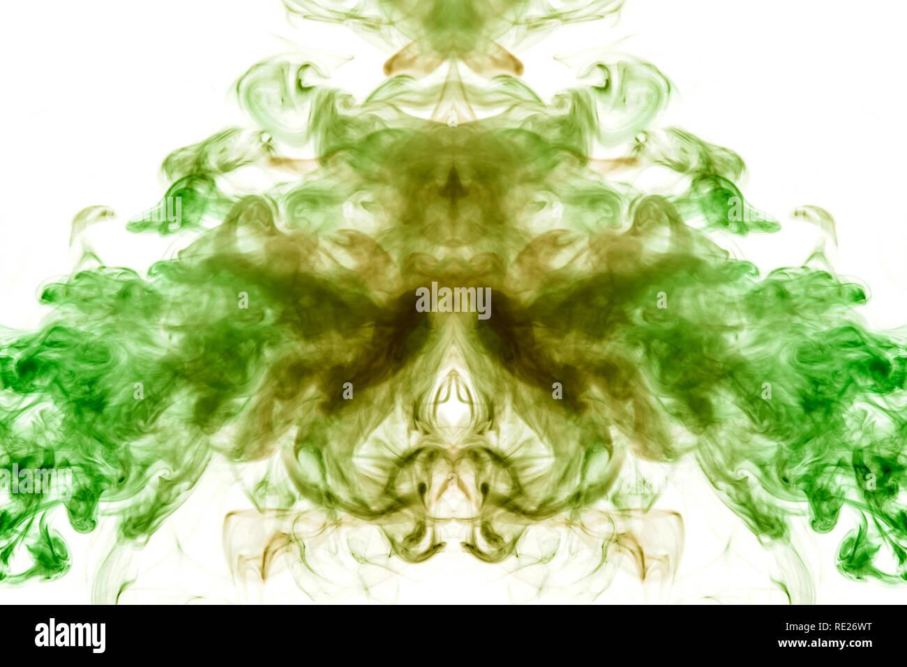 Patrón simétrico de color verde oscuro y color rojo burdeos sobre un fondo blanco aislado en la forma de un animal místico o Ghost, realizado con la ayuda de o Foto de stock