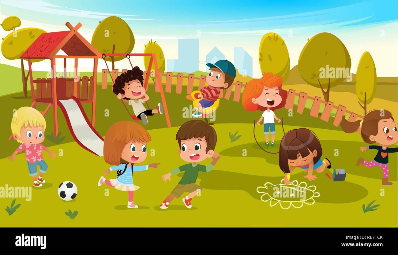 Los Niños Jugar En El Parque Infantil Ilustración Vectorial