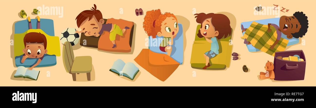 Clase elemental ilustración de caracteres a la hora de acostarse. Kindergarten los niños multirraciales la hora de la siesta, amigo de muchacha del chisme. Niñito africano personaje dormir en la cama. Kindergarten Baby Read en pijama Imagen De Stock