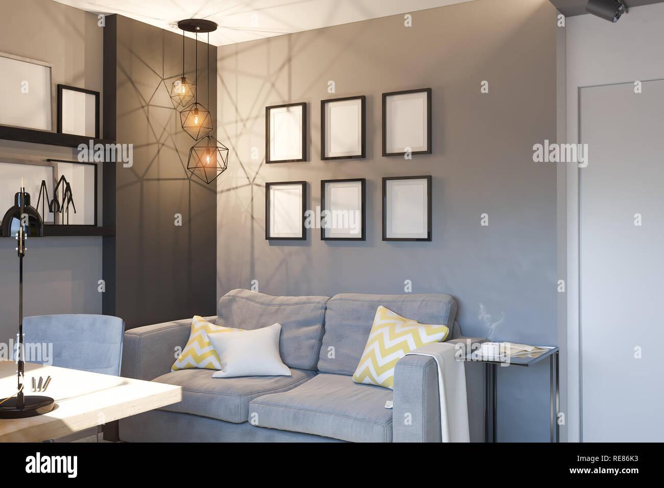 3d ilustración del concepto de diseño de interiores para ...